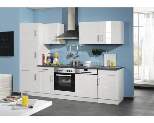 Küchenzeile Held Möbel Nevada weiß hochglanz 280 cm inkl. Einbaugeräte