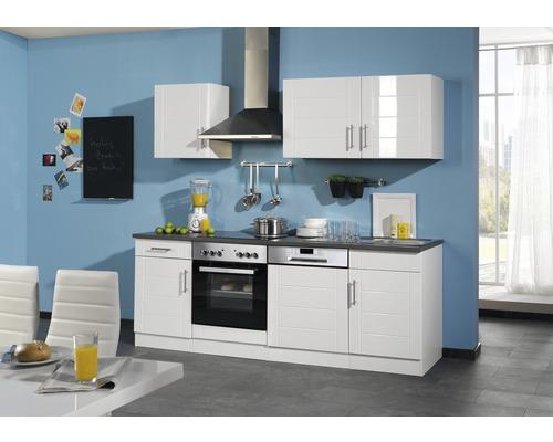 Küchenzeile Held Möbel Nevada weiß hochglanz 220 cm inkl. Einbaugeräte