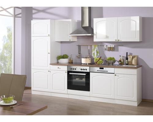 Küchenzeile Held Möbel Boston Weiß hochglanz 280 cm inkl. Einbaugeräte