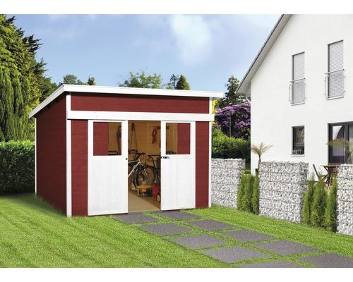 Schiebetürhaus weka Lugano 1 mit Fußboden 295 x 215 cm schwedischrot