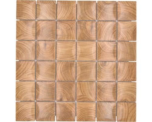 Keramikmosaik Holz braun glasiert 30x30 cm