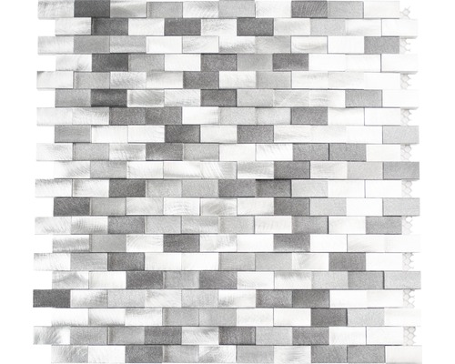 Aluminiummosaik grau/silber glänzend 30,1x30,4 cm