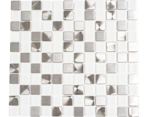 Aluminiummosaik XAM A441 weiß/silber glänzend 32,7x30,2 cm