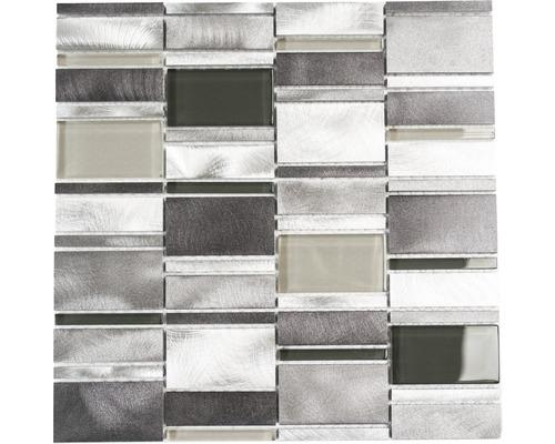 Aluminiummosaik silber klar grau glänzend 30,1x30,1 cm