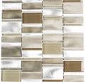 Aluminiummosaik silber beige braun Glänzend 30,1x30,1 cm