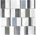 Aluminiummosaik silber glänzend kombi mix braun 30,1x30,1 cm
