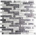 Aluminiummosaik silber/schwarz glänzend 30x30,4 cm
