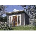 Blockbohlenhaus SKAN HOLZ She Shed Ostende 1 mit Fußboden 350 x 250 cm schiefergrau