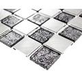 Aluminiummosaik silber/schwarz glänzend 32,7x30,2 cm