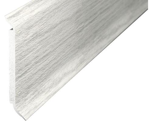 Kernsockelleiste Hartschaum Esche weiß 60x2500 mm