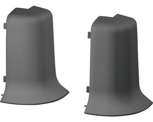 Außenecken für Klemmsockelleiste 50 mm dunkelgrau (2 Stück)