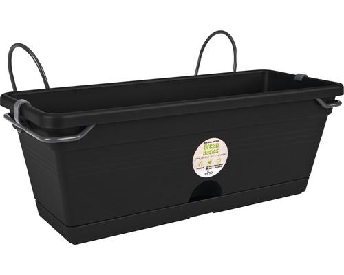 Blumenkasten-Set elho Green Basics Kunststoff 30x19x16 cm schwarz inkl. Halterung und Untersetzer