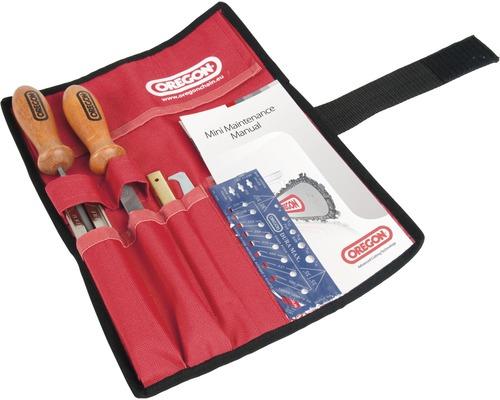 Schärfset OREGON in Tasche 4,8 mm inkl. Flachfeile mit Holzgriff, Feilenhalter, Schertnutreiniger und Tiefenbegrenzerlehre