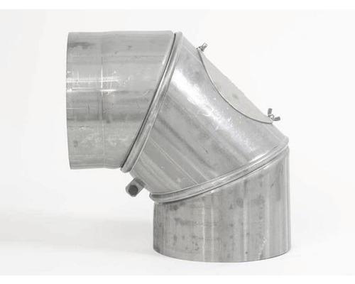 Ofenrohr-Bogen mit Tür verstellbar 0-90° Ø200 mm blank silber
