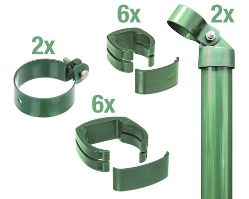 Zaunanschluss-Set, FixClip, zum Einbetonieren, 102 cm, grün