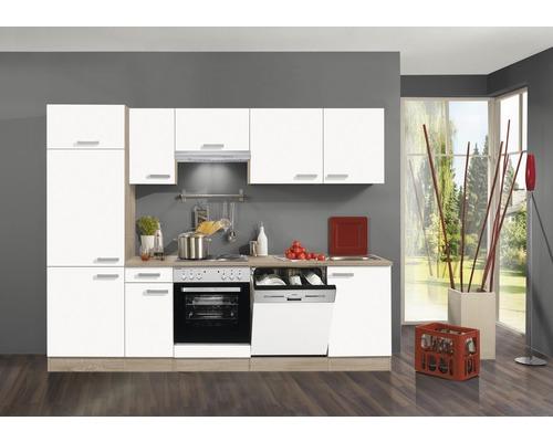 Küchenzeile Kompakt Zamora 10 cm Weiß inkl. Einbaugeräte