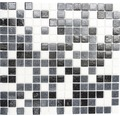 Glasmosaik A 125 mix weiß/grau/schwarz 30,5x32,7 cm