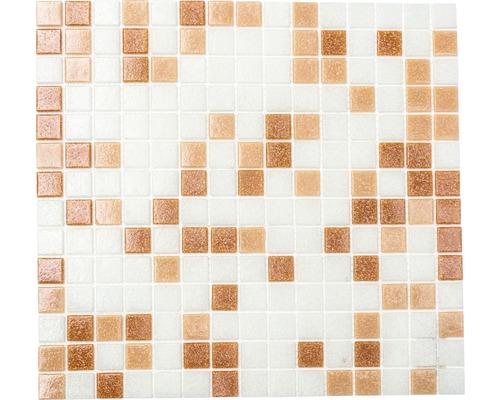 Glasmosaik A 155 mix weiß/braun 30,5x32,7 cm