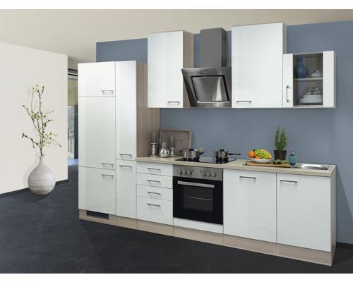 Küchenzeile Abaco perlmutt glänzend 310 cm inkl. Einbaugeräte perlumtt glänzend