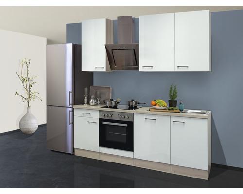 Küchenzeile Abaco 220 cm inkl. Einbaugeräte perlmutt glänzend