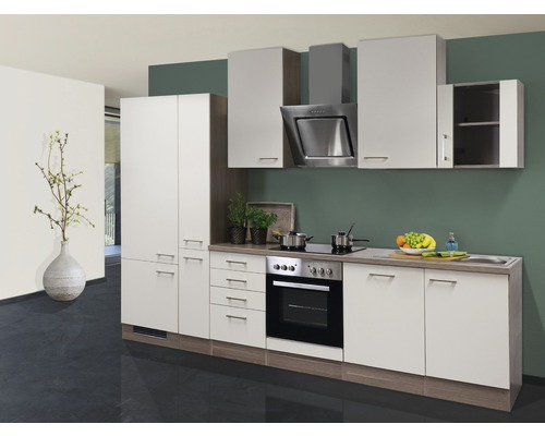 Küchenzeile Eico 310 cm inkl. Einbaugeräte magnolienweiß