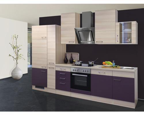 Küchenzeile Focus 310 cm inkl. Einbaugeräte akazie-dekor/aubergine