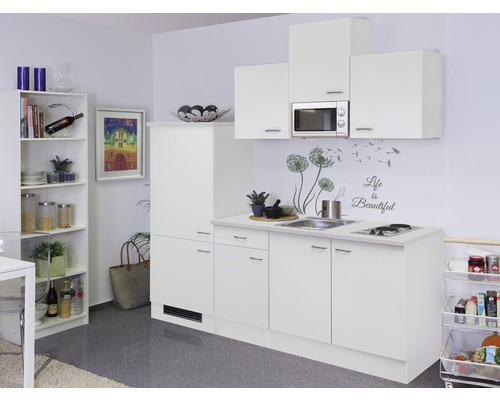 Küchenzeile Wito 210 cm inkl. Einbaugeräte weiß