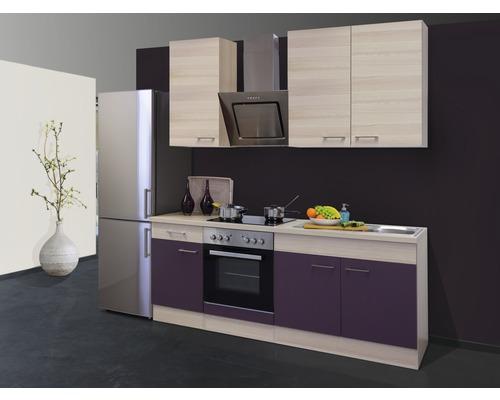 Küchenzeile Focus 210 cm inkl. Einbaugeräte akazie-dekor/aubergine
