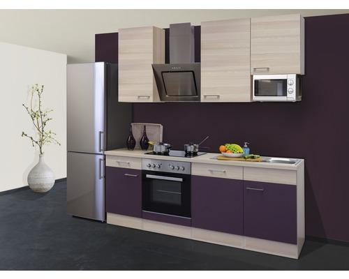 Küchenzeile Focus 220 cm inkl. Einbaugeräte akazie-dekor/aubergine