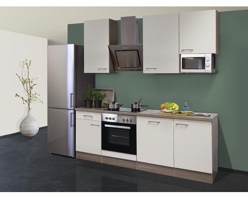 Küchenzeile Eico 220 cm inkl. Einbaugeräte magnolienweiß