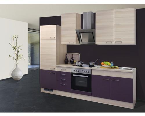 Küchenzeile Focus 270 cm inkl. Einbaugeräte akazie-dekor/aubergine