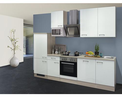 Küchenzeile Abaco 280 cm inkl. Einbaugeräte perlmutt glänzend