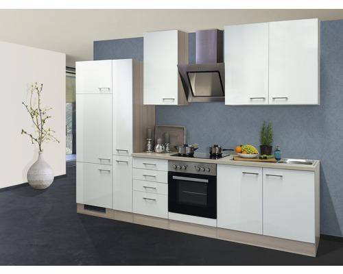 Küchenzeile Abaco 300 cm inkl. Einbaugeräte perlmutt glänzend