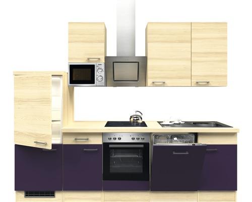 Küchenzeile Focus 280 cm inkl. Einbaugeräte akazie-dekor/aubergine