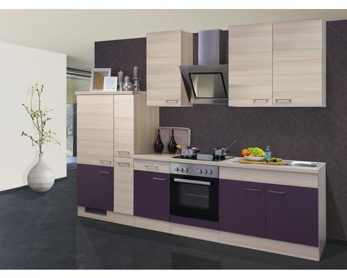Küchenzeile Focus 300 cm inkl. Einbaugeräte akazie-dekor/aubergine