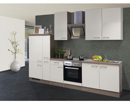 Küchenzeile Eico 300 cm inkl. Einbaugeräte magnolienweiß