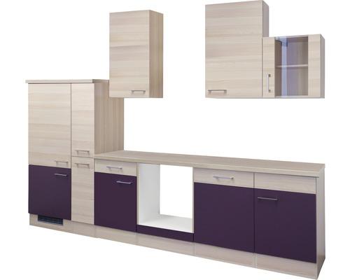 Küchenleerblock Focus 310 cm akazie-dekor/aubergine