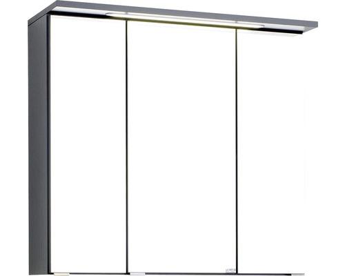 3D-Spiegelschrank 3-türig 70x66 cm Dunkelgrau 010.1.0042