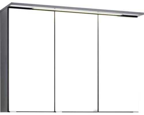 3D-Spiegelschrank 3-türig 90x66 cm Dunkelgrau 012.1.0042