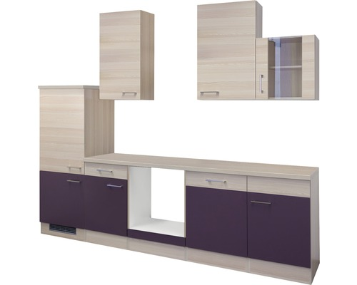 Küchenleerblock Focus 280 cm akazie-dekor/aubergine