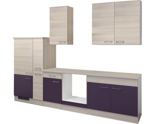 Küchenleerblock Focus 300 cm akazie-dekor/aubergine