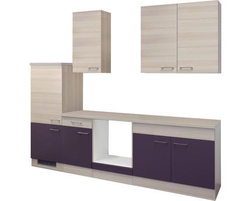 Küchenleerblock Focus 270 cm akazie-dekor/aubergine