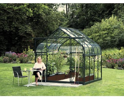 Gewächshaus Vitavia Diana 6700 Einscheibensicherheitsglas 3 mm 264x258 cm grün