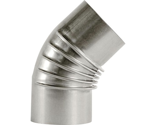 Ofenrohr-Bogen Bertrams 45° Ø 130 mm feueraluminiert silber