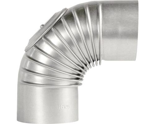 Ofenrohr-Bogen Bertrams 90° Ø 130 mm feueraluminiert silber mit Tür