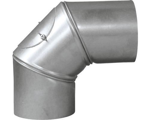 Ofenrohr-Bogen Bertrams verstellbar 0-90° Ø 130 mm feueraluminiert silber mit Tür