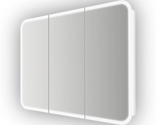 Spiegelschrank 3-türig 95x70cm soft weiß IP 44 (fremdkörper- und spritzwassergeschützt)