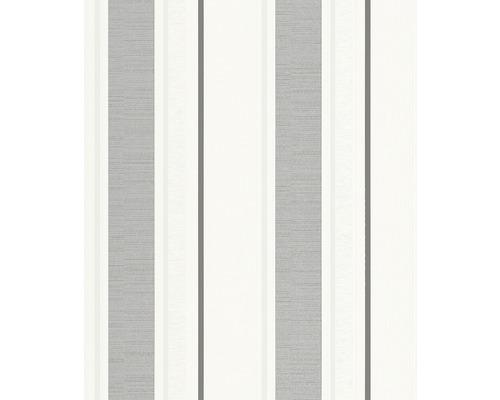 Vliestapete 723649 Streifen weiß silber