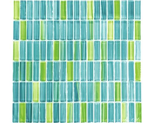 Glasmosaik XCM S850 31x32,2 cm grün/blau