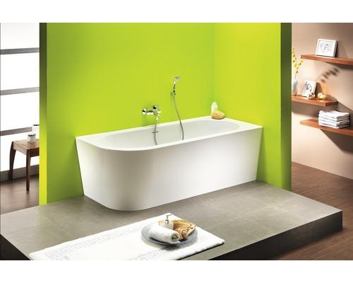 Freistehende Badewanne Messina Corner 178x78 cm links weiß inkl. Ab- und Überlaufgarnitur